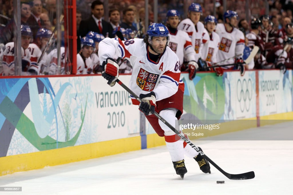 <a gi-track='captionPersonalityLinkClicked' href=/galleries/search?phrase=Jaromir+Jagr&family=editorial&specificpeople=201633 ng-click='$event.stopPropagation()'>Jaromir Jagr</a> #68 of Czech Republic skates with the puck during the ice hockey men's preliminary game between Czech Republic and Latvia on day 8 of the Vancouver 2010 Winter Olympics at Canada Hockey Place on February 19, 2010 in Vancouver, Canada.