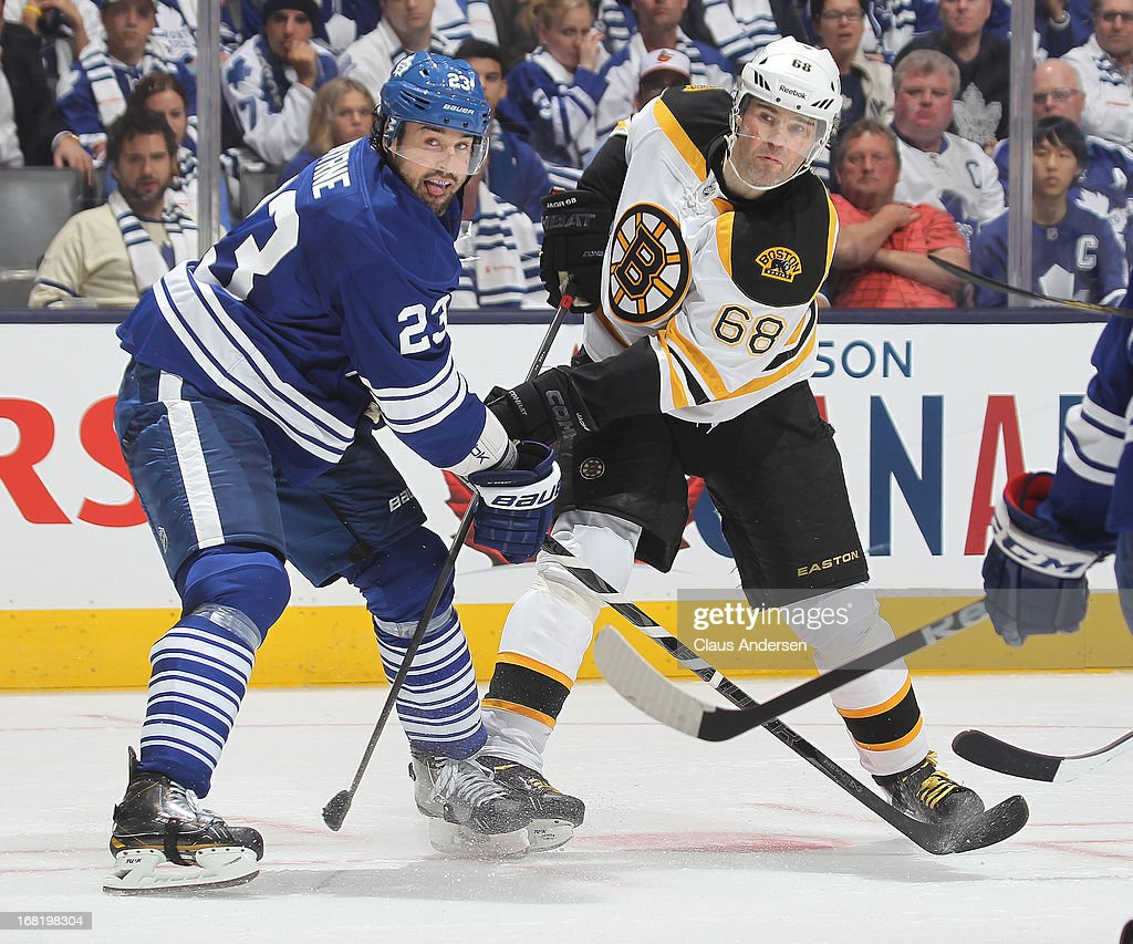 Jaromir Jagr #68 of the Boston Bruins battles with Ryan O'Byrne #23 of the Toronto Maple Leafs in Game Three of the Eastern Conference Quarterfinals during the 2013 Stanley Cup Playoffs on May 6, 2013 at the Air Canada Centre in Toronto, Ontario, Canada. The Bruins defeated the Leafs 5-2 to take a 2-1 series lead.