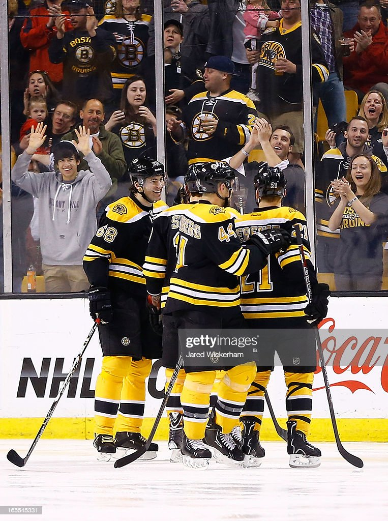 Jaromir Jagr #68 of the Boston Bruins celebrates his goal in the second period with teammates during the game against the New Jersey Devils on April 2, 2013 at TD Garden in Boston, Massachusetts.