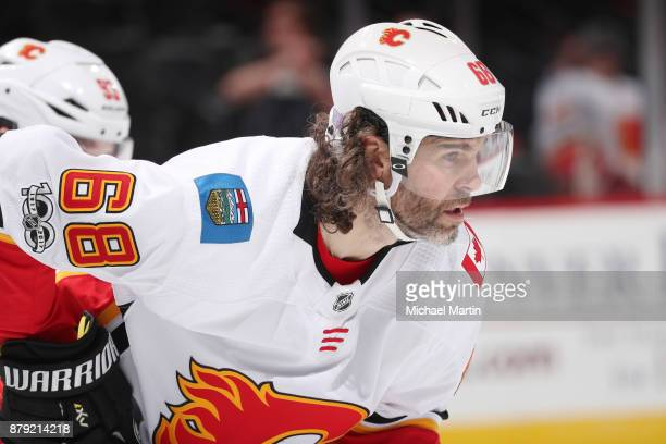 Jaromir Jagr of the Calgary Flames awaits a faceoff against the Colorado Avalanche at the Pepsi Center on November 25 2017 in Denver Colorado