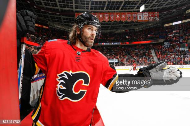 Jaromir Jagr of the Calgary Flames greets his teammates in an NHL game against the Vancouver Canucks at the Scotiabank Saddledome on November 7 2017...