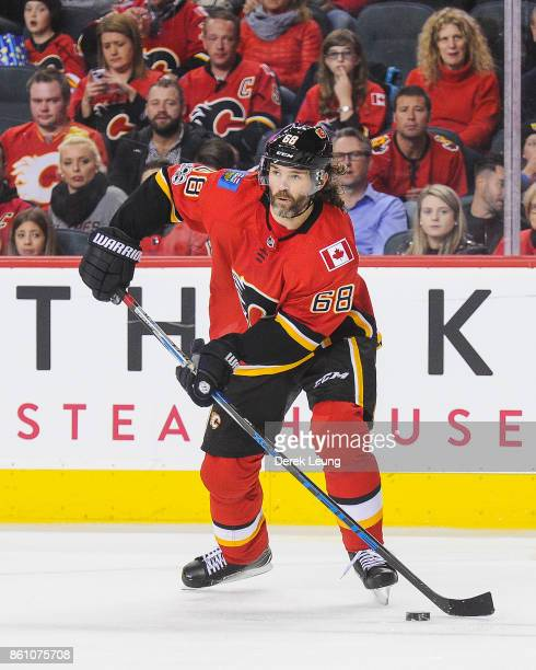 Jaromir Jagr of the Calgary Flames in action against the Ottawa Senators during an NHL game at Scotiabank Saddledome on October 13 2017 in Calgary...