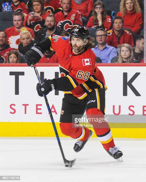 Jaromir Jagr of the Calgary Flames in action Ottawa Senators during an NHL game at Scotiabank Saddledome on October 13 2017 in Calgary Alberta Canada