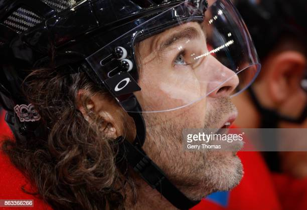 Jaromir Jagr of the Calgary Flames looks up from the bench against the Carolina Hurricanes at Scotiabank Saddledome on October 19 2017 in Calgary...