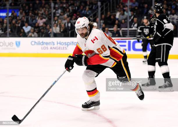 Jaromir Jagr of the Calgary Flames skates after the play during the game against the Los Angeles Kings at Staples Center on October 11 2017 in Los...
