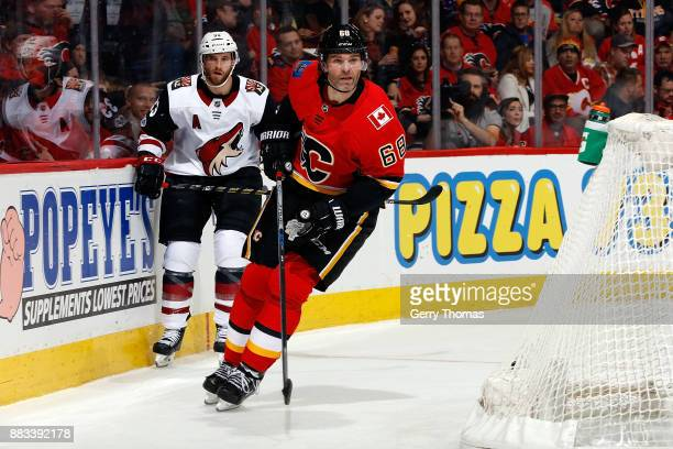 Jaromir Jagr of the Calgary Flames skates against the Arizona Coyotes during an NHL game on November 30 2017 at the Scotiabank Saddledome in Calgary...