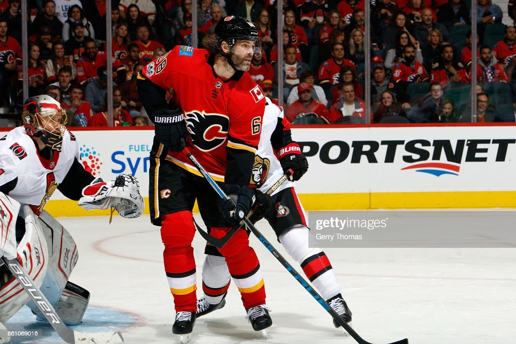 Jaromir Jagr #68 of the Calgary Flames skates against the Ottawa Senators during an NHL game on October 13, 2017 at the Scotiabank Saddledome in Calgary, Alberta, Canada.
