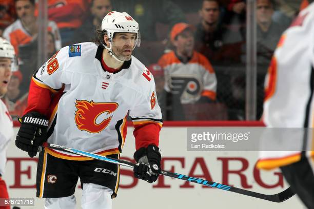 Jaromir Jagr of the Calgary Flames skates against the Philadelphia Flyers on November 18 2017 at the Wells Fargo Center in Philadelphia Pennsylvania