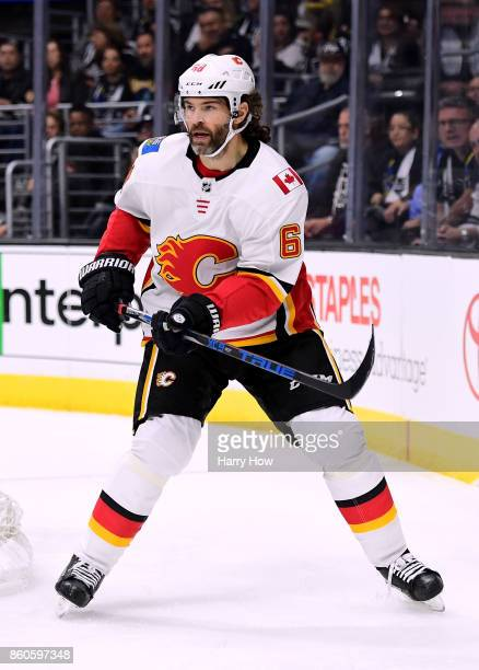 Jaromir Jagr of the Calgary Flames waits for the puck during the game against the Los Angeles Kings at Staples Center on October 11 2017 in Los...