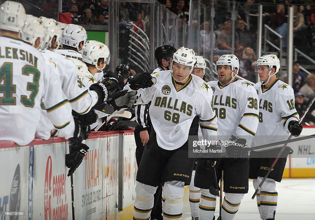 Jaromir Jagr #68 of the Dallas Stars celebrates a goal with teammates against the Colorado Avalanche at the Pepsi Center on March 20, 2013 in Denver, Colorado.
