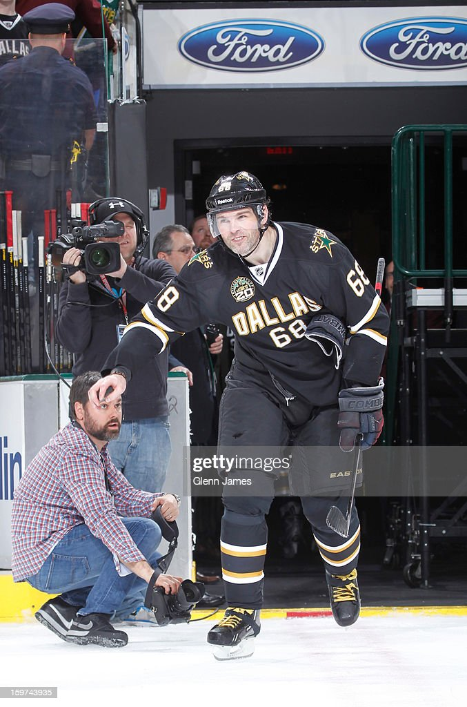 <a gi-track='captionPersonalityLinkClicked' href=/galleries/search?phrase=Jaromir+Jagr&family=editorial&specificpeople=201633 ng-click='$event.stopPropagation()'>Jaromir Jagr</a> #68 of the Dallas Stars is awarded the #1 star of the game against the Phoenix Coyotes at the American Airlines Center on January 19, 2013 in Dallas, Texas.