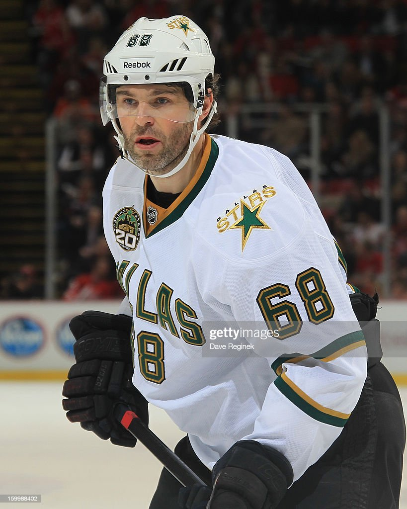 Jaromir Jagr #68 of the Dallas Stars looks down the ice during a NHL game against the Detroit Red Wings at Joe Louis Arena on January 22, 2013 in Detroit, Michigan. Dallas won 2-1