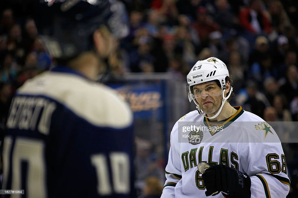 Jaromir Jagr #68 of the Dallas Stars looks over at Mark Letestu #10 of the Columbus Blue Jackets prior to a face-off during the third period on February 26, 2013 at Nationwide Arena in Columbus, Ohio. Dallas defeated Columbus 5-4 in overtime.