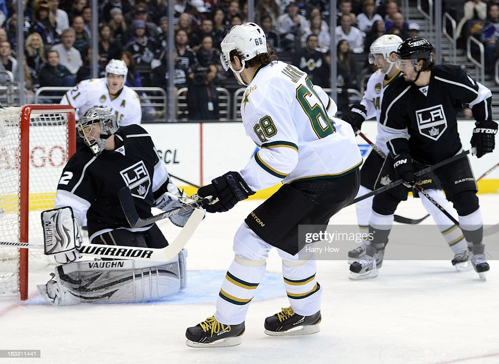 Jaromir Jagr #68 of the Dallas Stars scores a goal on Jonathan Quick #32 of the Los Angeles Kings for a 1-0 lead during the first period at Staples Center on March 7, 2013 in Los Angeles, California.