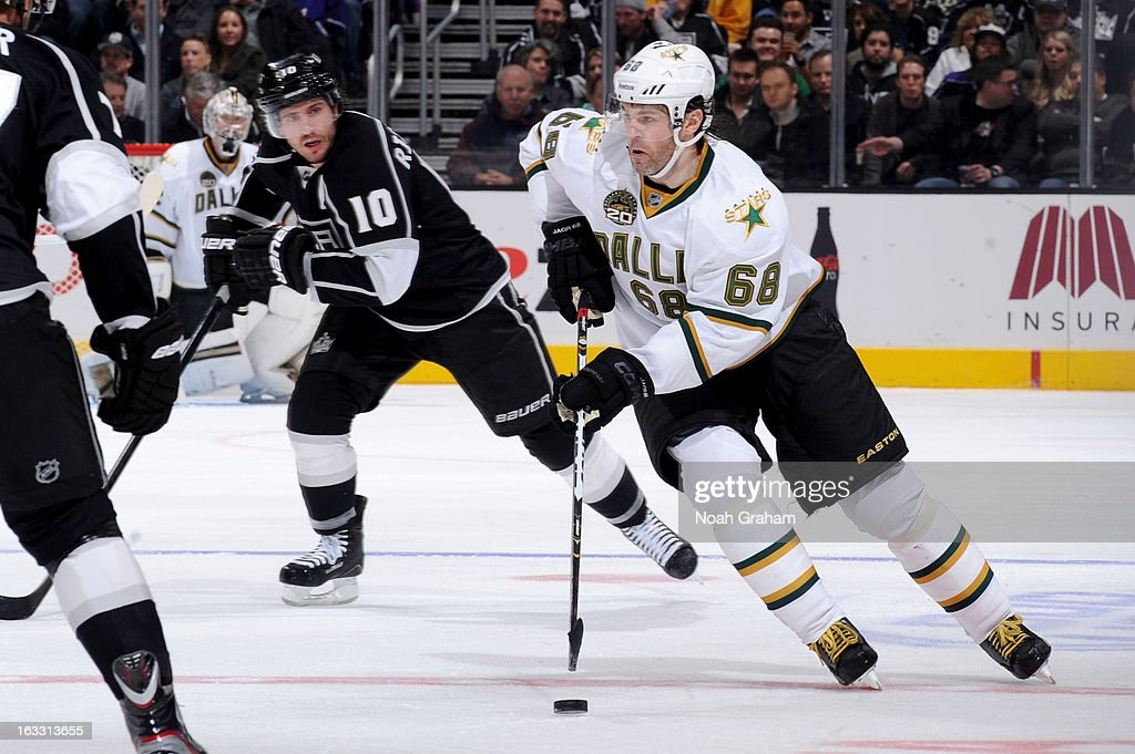 Jaromir Jagr #68 of the Dallas Stars skates with the puck against the Los Angeles Kings at Staples Center on March 7, 2013 in Los Angeles, California.