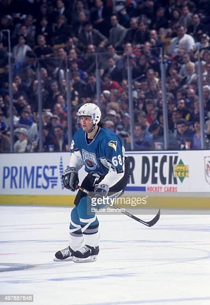 Jaromir Jagr of the Eastern Conference and the Pittsburgh Penguins skates on the ice during the 1996 46th NHL AllStar Game against the Western...