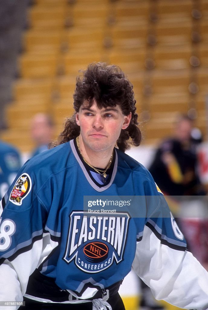 Jaromir Jagr of the Eastern Conference and the Pittsburgh Penguins skates on the ice during warmups before the 1996 46th NHL AllStar Game against the...