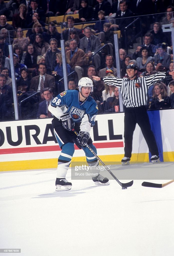 Jaromir Jagr of the Eastern Conference and the Pittsburgh Penguins skates with the puck during the 1996 46th NHL AllStar Game against the Western...