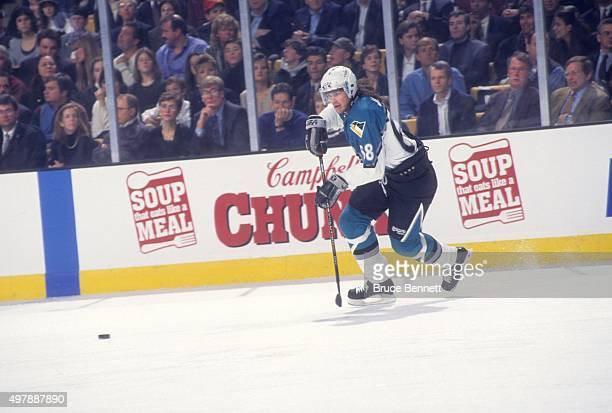 Jaromir Jagr of the Eastern Conference and the Pittsburgh Penguins goes for the puck during the 1996 46th NHL AllStar Game against the Western...