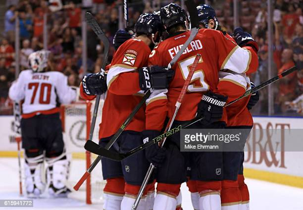 Jaromir Jagr of the Florida Panthers celebrates a goal during a game against the Washington Capitals at BBT Center on October 20 2016 in Sunrise...