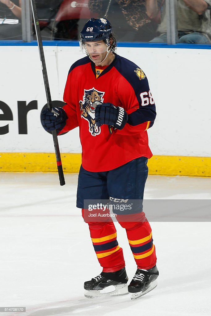 Jaromir Jagr #68 of the Florida Panthers celebrates after scoring a third period goal against the Ottawa Senators at the BB&T Center on March 10, 2016 in Sunrise, Florida. The Panthers defeated the Senators 6-2.