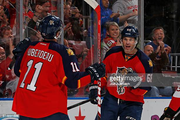 Jaromir Jagr of the Florida Panthers celebrates his firstperiod goal with Jonathan Huberdeau against the Ottawa Senators at the BBT Center on March...