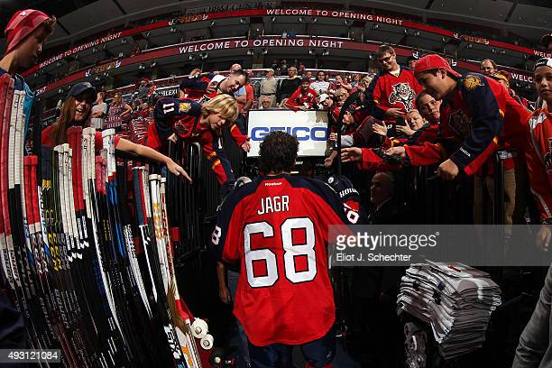 Jaromir Jagr of the Florida Panthers heads back to the dressing room after warm ups prior to the start of the game against the Philadelphia Flyers at...