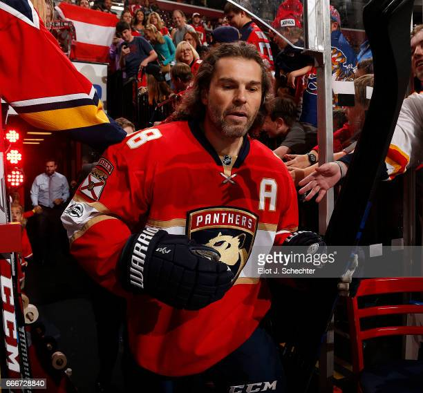Jaromir Jagr of the Florida Panthers heads out to the ice prior to the start of the game against the Buffalo Sabres at the BBT Center on April 8 2017...