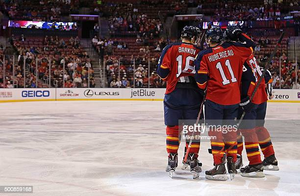 Jaromir Jagr of the Florida Panthers is congratulated after scoring a goal during a game against the Washington Capitals at BBT Center on December 10...