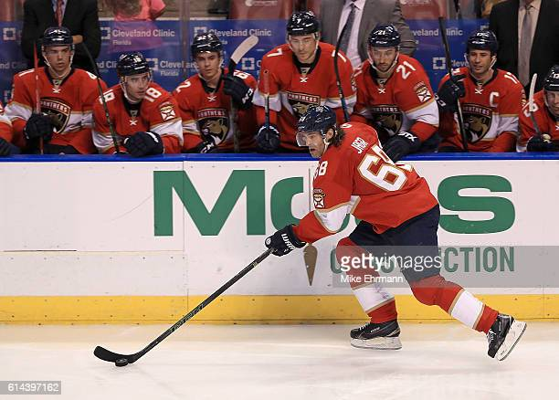 Jaromir Jagr of the Florida Panthers looks to pass during Opening Night of the 20162017 NHL Season against New Jersey Devils at BBT Center on October...