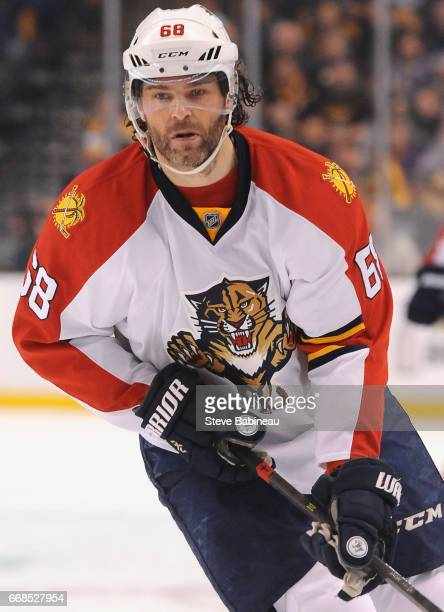 Jaromir Jagr of the Florida Panthers plays in the game against the Boston Bruins at TD Garden on March 25 2016 in Boston Massachusetts