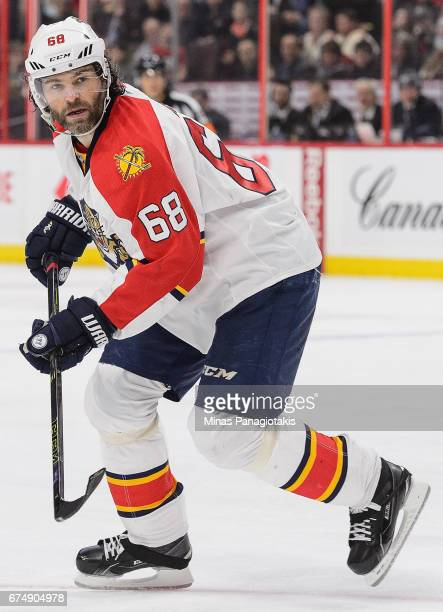 Jaromir Jagr of the Florida Panthers plays in the game against the Ottawa Senators at Canadian Tire Centre on April 7 2016 in Ottawa Ontario Canada