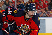 Jaromir Jagr of the Florida Panthers prepares for a faceoff against the Montreal Canadiens at the BBT Center on April 2 2016 in Sunrise Florida The...