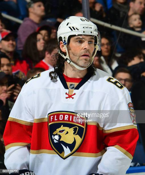 Jaromir Jagr of the Florida Panthers prepares for a faceoff against the Buffalo Sabres during an NHL game at the KeyBank Center on March 27 2017 in...