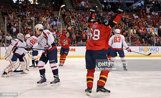Jaromir Jagr of the Florida Panthers scores a goal during a game against the Washington Capitals at BBT Center on December 10 2015 in Sunrise Florida