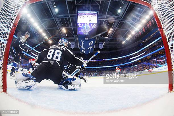 Jaromir Jagr of the Florida Panthers shoots the puck for a goal and by goalie Andrei Vasilevskiy of the Tampa Bay Lightning during the first period...