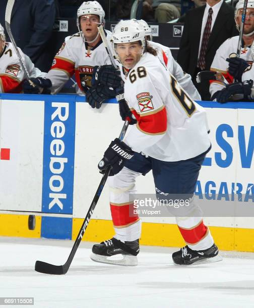 Jaromir Jagr of the Florida Panthers skates against the Buffalo Sabres during an NHL game at the KeyBank Center on March 27 2017 in Buffalo New York