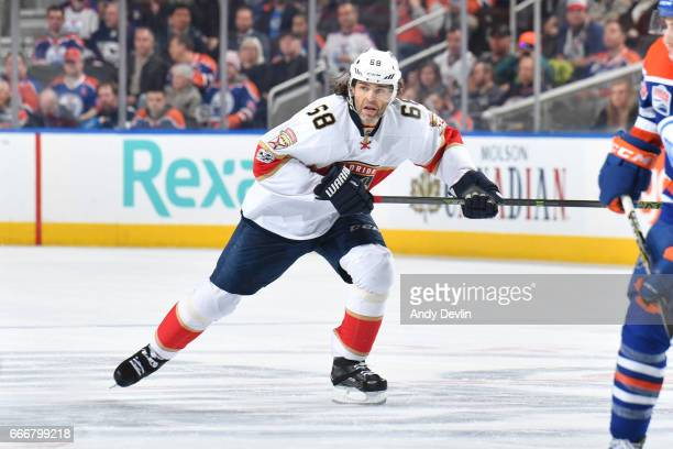 Jaromir Jagr of the Florida Panthers skates during the game against the Edmonton Oilers on January 18 2017 at Rogers Place in Edmonton Alberta Canada