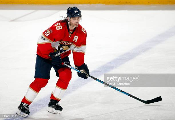 Jaromir Jagr of the Florida Panthers skates for position against the Montreal Canadiens at the BBT Center on April 3 2017 in Sunrise Florida