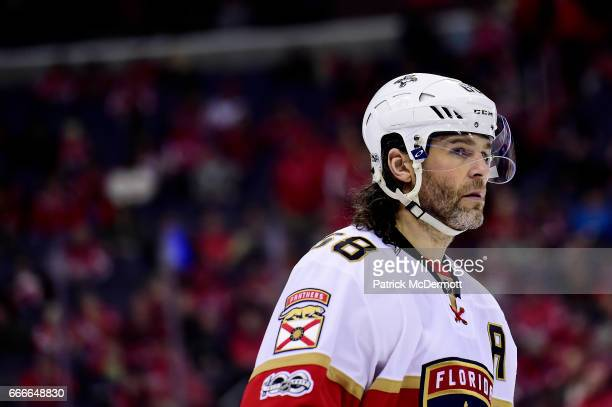 Jaromir Jagr of the Florida Panthers skates in the first period against the Washington Capitals during an NHL game at Verizon Center on April 9 2017...