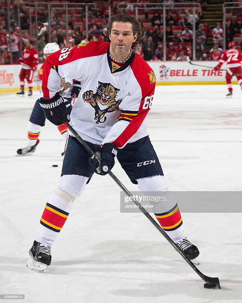 Jaromir Jagr #68 of the Florida Panthers skates in warm-ups in his 1600th NHL game prior to an NHL game against the Detroit Red Wings at Joe Louis Arena on February 8, 2016 in Detroit, Michigan.