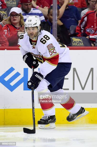 Jaromir Jagr of the Florida Panthers skates with the puck in the third period during an NHL game against the Washington Capitals at Verizon Center on...