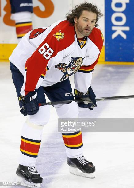 Jaromir Jagr of the Florida Panthers warms up before the game against the New York Rangers at Madison Square Garden on March 21 2016 in New York New...