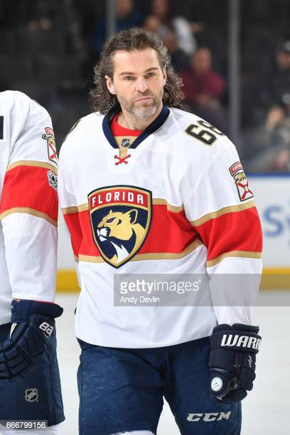 Jaromir Jagr of the Florida Panthers warms up prior to the game against the Edmonton Oilers on January 18 2017 at Rogers Place in Edmonton Alberta...