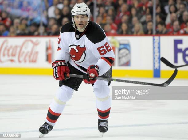 Jaromir Jagr of the New Jersey Devils plays in the game against the Calgary Flames at Scotiabank Saddledome on November 22 2014 in Calgary Alberta...