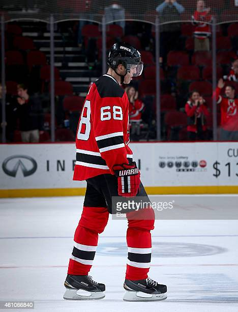 Jaromir Jagr of the New Jersey Devils skates on the ice after the game against the Philadelphia Flyers on January 3 2015 at the Prudential Center in...