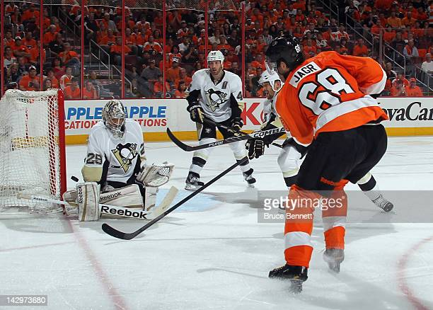 Jaromir Jagr of the Philadelphia Flyers is stopped by MarcAndre Fleury of the Pittsburgh Penguins in Game Three of the Eastern Conference...