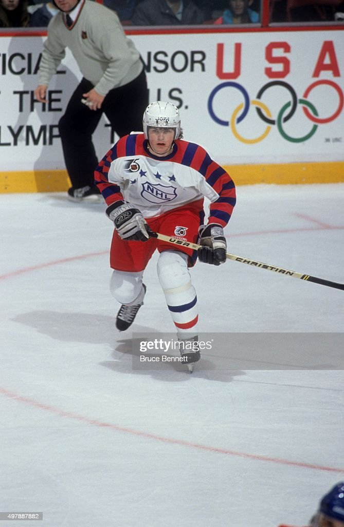 Jaromir Jagr of the Wales Conference and the Pittsburgh Penguins skates on the ice during the 1992 43rd NHL AllStar Game against the Campbell...