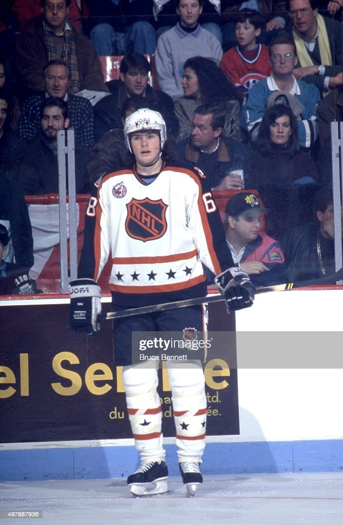 Jaromir Jagr of the Wales Conference and the Pittsburgh Penguins stands on the ice during the 1993 44th NHL AllStar Game against the Campbell...
