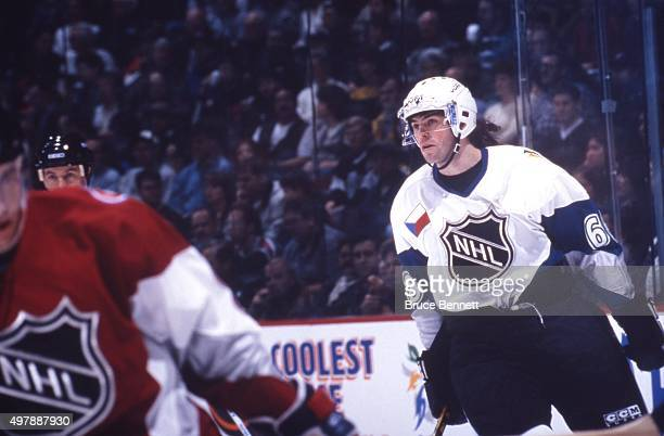 Jaromir Jagr of the World and the Pittsburgh Penguins skates on the ice during the 1998 48th NHL AllStar Game against North America on January 18...